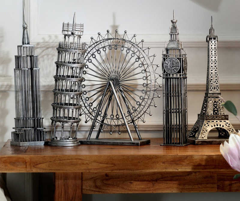 Handmade vintage iron models: ferris wheel, Leaning Tower of Pisa, Empire State Building,tower of Paris, Big Ben Elizabeth Tower