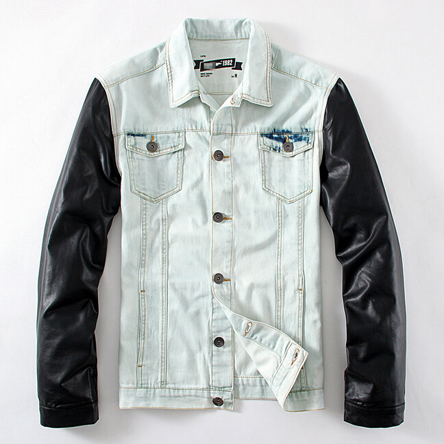 Online Buy Wholesale denim jacket leather sleeves mens from China ...