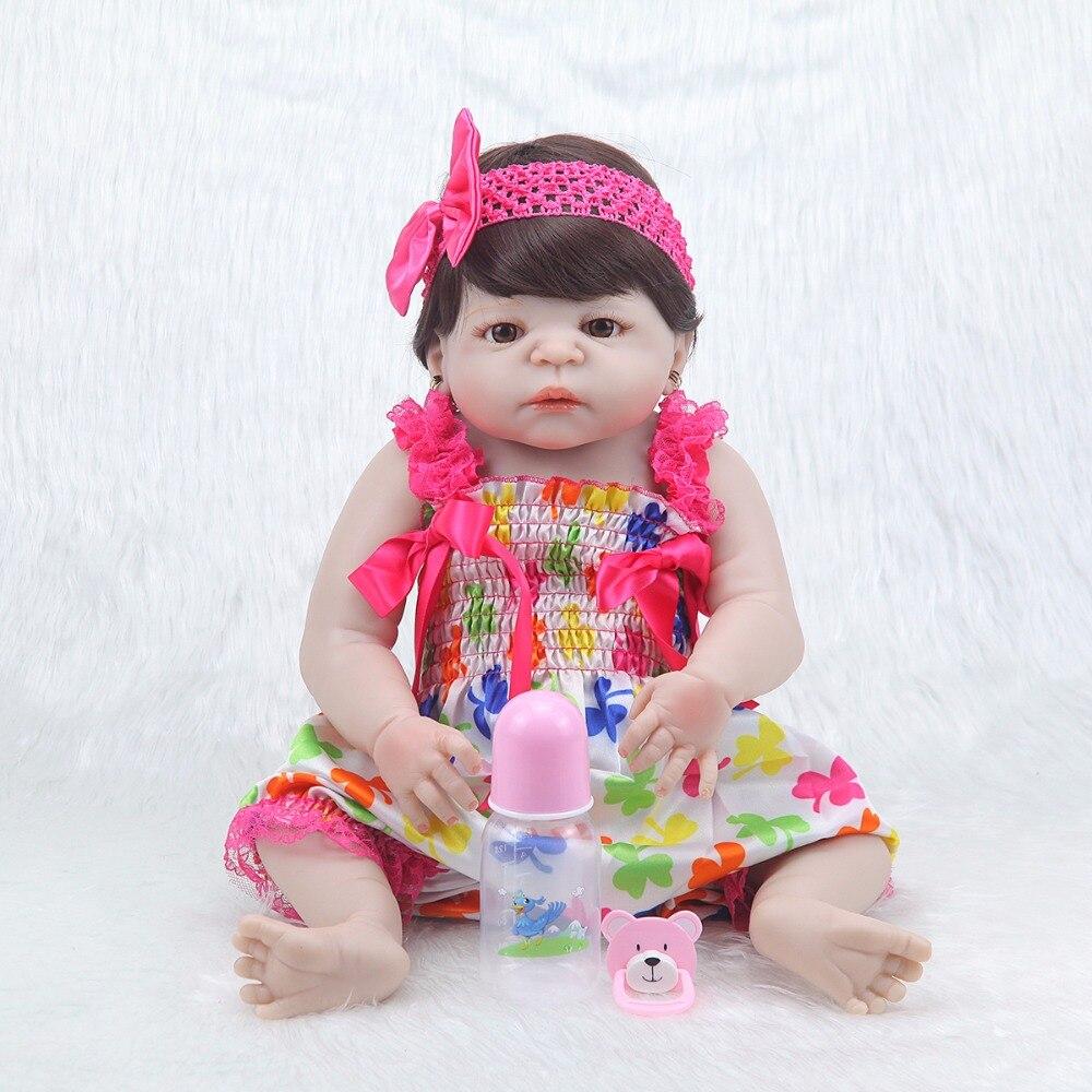 Moda 23 ''princesa realista muñeca de silicona Peluca de cuerpo ropa de bebé lindo vestido rosa bebé reborn menina niños regalo-in Muñecas from Juguetes y pasatiempos    3