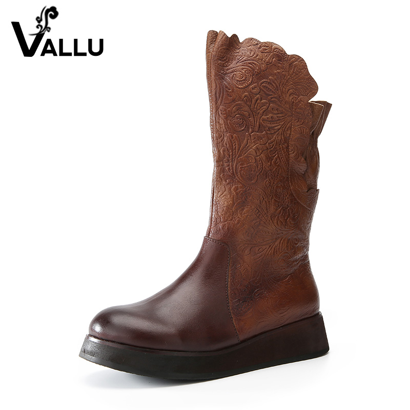 VALLU Women Shoes Flat Platform Mid Calf Boots Genuine Leather Round Toes Side Zipper Print Flower Handmade Retro Ladies Boots flower print flat sliders