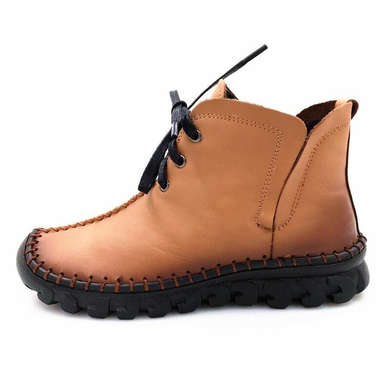Mano Tobillo E Hecho Botas Marca Genuino Encaje Cuero Mujeres Las Abedake 7200yellowboots A De Invierno Zapatos Otoño Mujer Caliente Xw06q