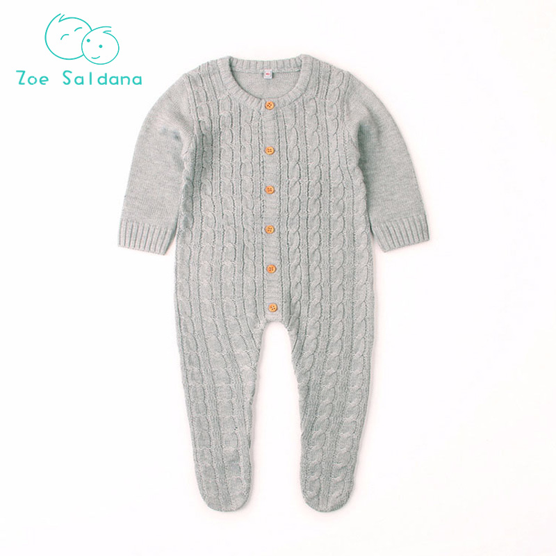 Zoe Saldana 2018 Boys Girls Rompers Ropa Bebe Newborn Baby Girls Wool Knitting Romper Long Sleeve Autumn Jumpsuit Baby Clothes боди для мальчиков baby boys bodysuits macacao ropa de bebe ve003