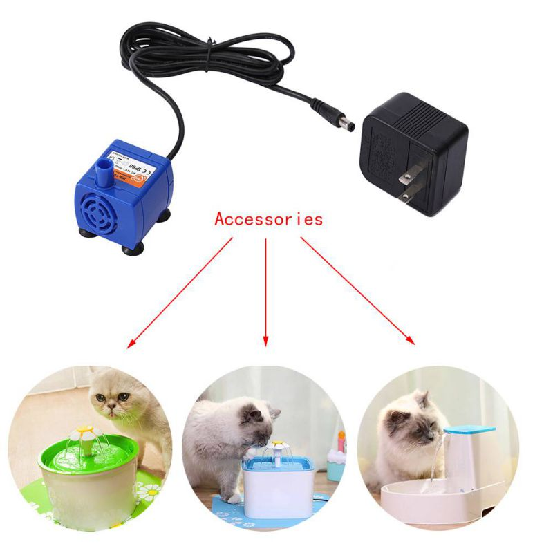Automatic Pet Cat Water Drinking Fountain For Kitten Puppy Pet Cat Dogs Fountain Pump Super Silenced Pump Power Adapter