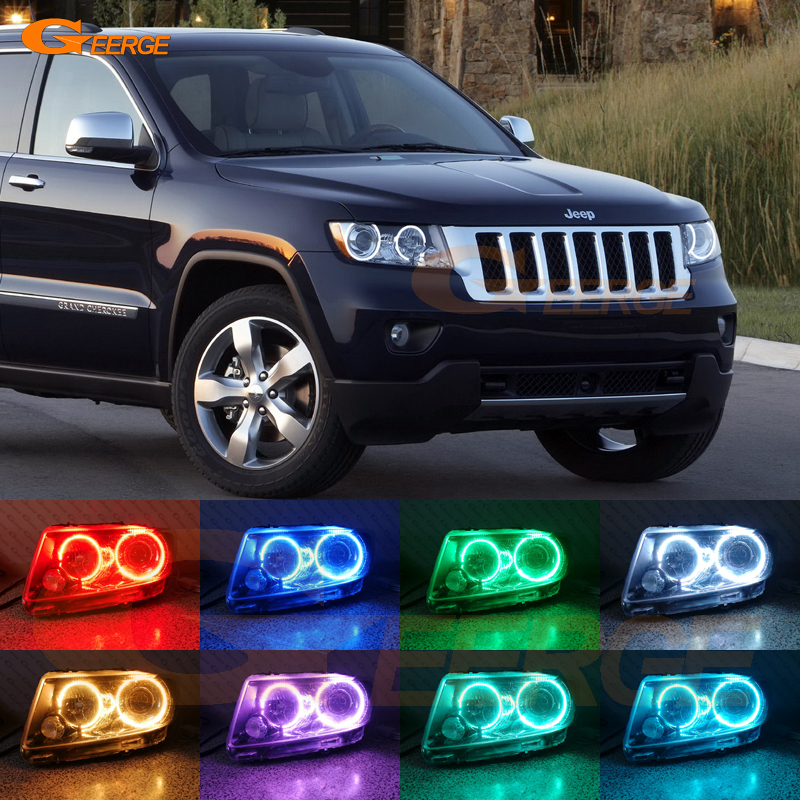 For JEEP GRAND CHEROKEE 2011 2012 2013 Xenon headlight Excellent Multi-Color Ultra bright RGB LED Angel Eyes kit Halo Rings car rear trunk security shield shade cargo cover for jeep grand cherokee 2011 2012 2013 2014 2015 2016 2017 2018 black beige