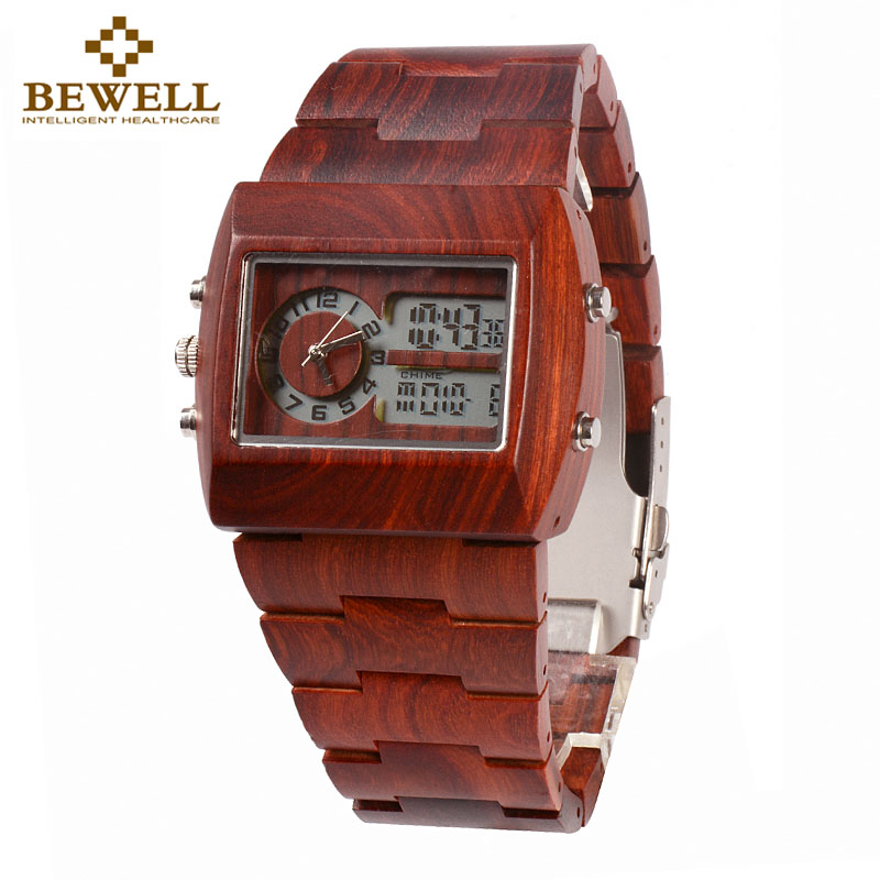 BEWELL 021A LED Analog Rectangle Wood Watch Mens Watches Top Brand Luxury Multi-function Wooden Sport Watch Quartz Wristwatches bewell natural wood watch men quartz watches dual time zone wooden wristwatch rectangle dial relogio led digital watch box 021c