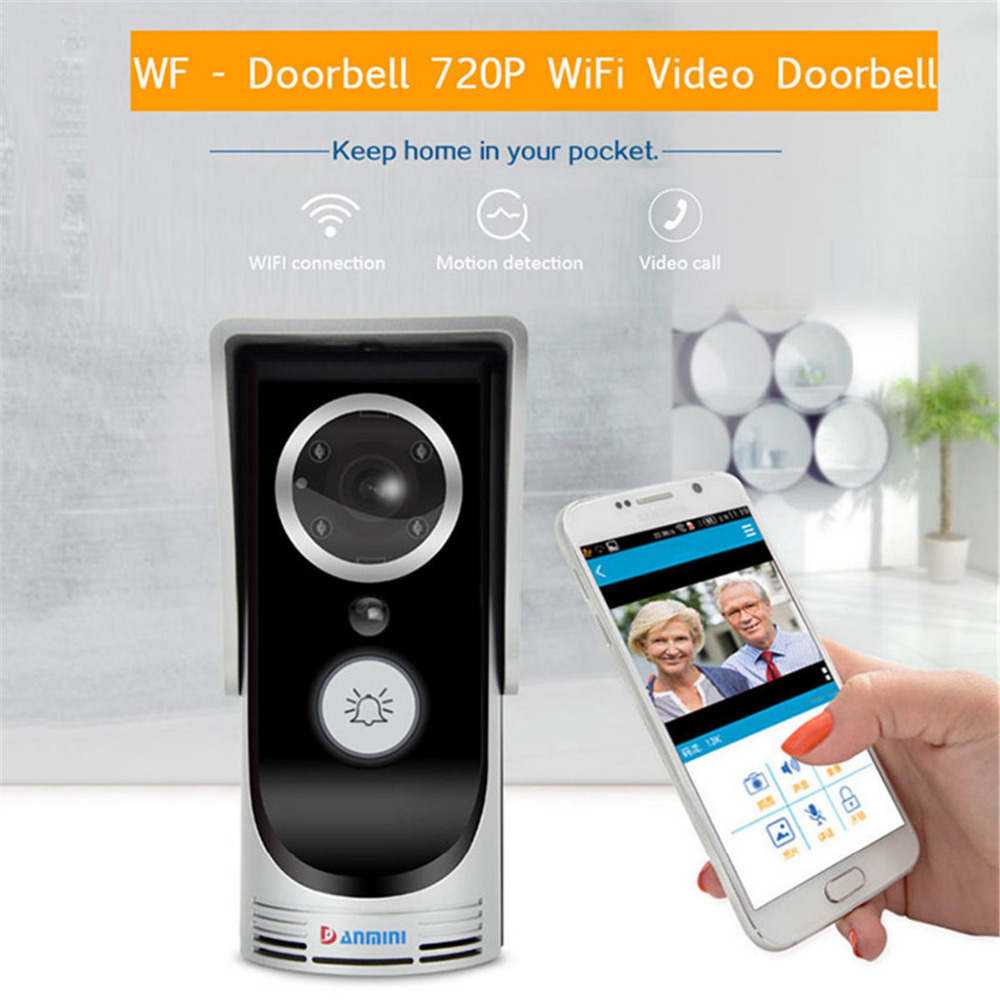 Door Intercom IP Doorbell With HD 720P Camera Video Phone WIFI Door bell Night Vision IR Motion Detection Alarm for IOS Android rfid reader wifi 720p hd video doorbell intercom phone camera for android ios phone with electric strike lock for door access
