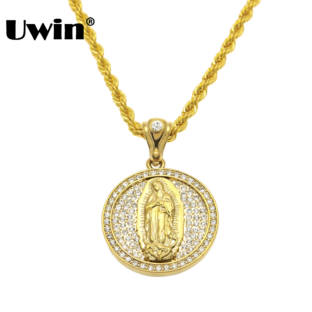 Big Size Jesus Christ Christian Virgin Mary Pendant Full Iced Out Bling  Rhinestones 30inch 6mm Rope Chian Hip Hop Necklace 1c4dcb612aa2