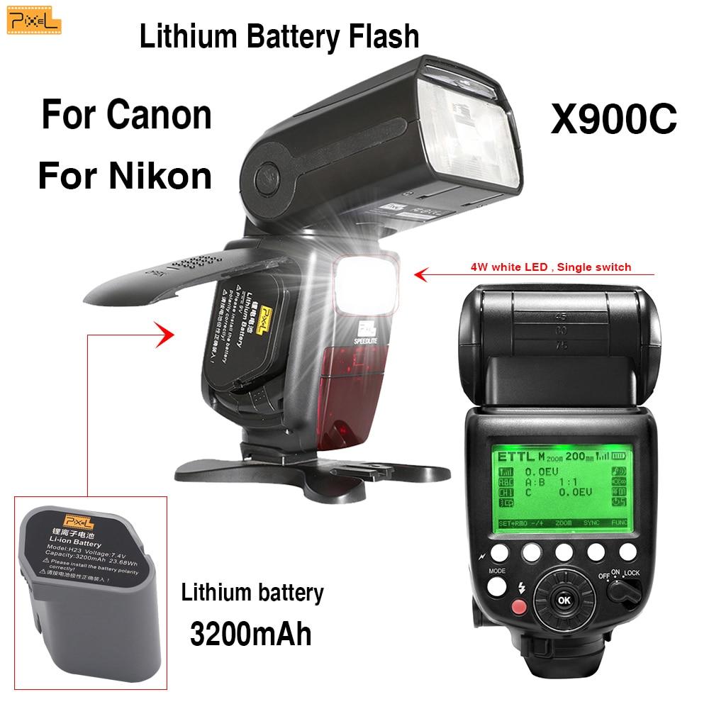 Flash Speedlite For Canon/Nikon Pixel X900 Dual Power Wireless Hot shoe flash 2.4G LED Light High speed sync TTL flash