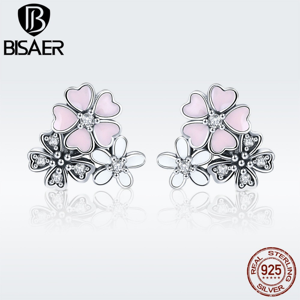 Authentic 925 Sterling Silver Cherry Daisy Flower Dazzling CZ Stud Earrings for Women Sterling Silver Jewelry brincos ECE400