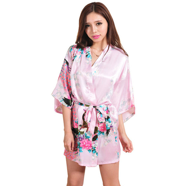 New Arrival Pink Chinese Women Silk Rayon Mini Robe Sexy Kimono Bath Gown Charming Intimate Lingerie Pajama S M L XL XXL XXXL