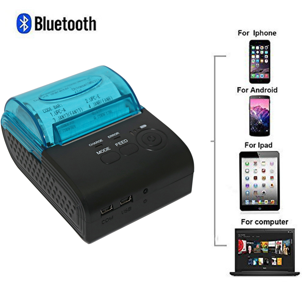 5pcs/lot Portable Mini 58mm Wireless Bluetooth Thermal Printer Pocket Mobile POS Thermal Receipt Printer for IOS/Android Mobile portable bluetooth thermal printer mini 58mm bluetooth android and ios pos printer mobile usb receipt printer