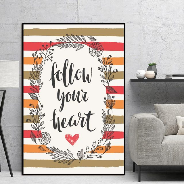 Us 3 9 Wall Pictures Living Room Art Decoration Pictures Letter Nordic Abstract Follow Your Heart Scandinavian Canvas Painting No Frame In Painting