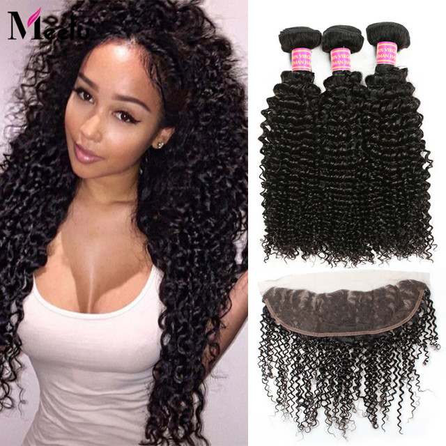 13x4 Lace Frontal Closure With Bundles Brazilian Virgin Hair Curly Hair With Closure 3 Bundles Human Hair With Lace Closure