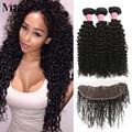 13x4 lace frontal encerramento com bundles brasileiro cabelo crespo cabelo virgem com fecho de 3 feixes de cabelo humano com lace closure