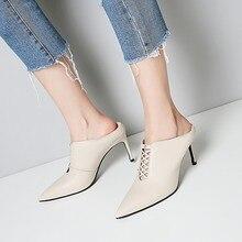 Alta-sapatos de salto alto das mulheres de couro fino 2018 primavera novos Europeus e Americanos oco sexy preto selvagem apontou único sapatos.