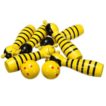 5Set Sale Wooden Bowling Ball Skittle Animal Shape Game For Kids Children Toy Yellow(China)