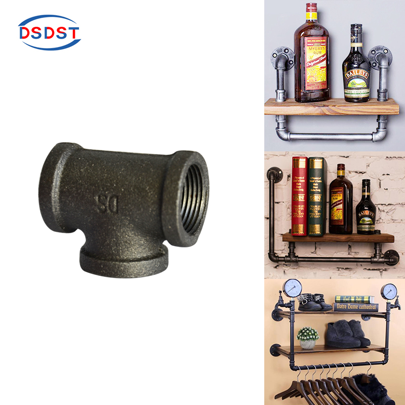 Plumbing Objective 5pcs/pack Black Iron Tee Female Thread Tee Diy Home Decoration Pipe Fittings Loft Industry Iron Pipe Fittings 1/2 3/4 1