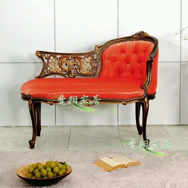European American Wood Carving Palace French Gilt Double Chaise Lounge  Chair Sofa Model Room Furniture
