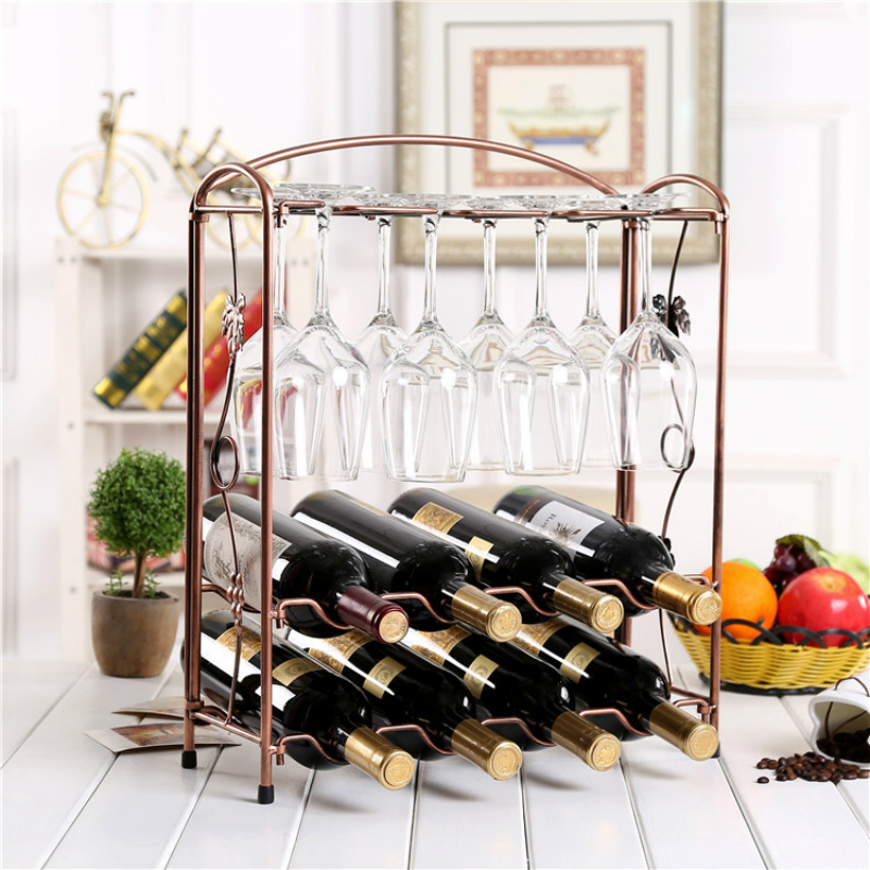 Foldable Metal Wine Rack Novel Collapsible European Style Rack Holds 8 Bottles and 8 Cups for Home, Bar, Cafe Bronze