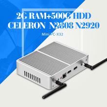 Mini PC Celeron N2920 N2808 Ноутбук 2 * HDMI Mini PC Компьютер Кабель Таблетки DDR3 ОПЕРАТИВНОЙ ПАМЯТИ 2 Г 500 Г HDD + WI-FI Windows 7/8. 1