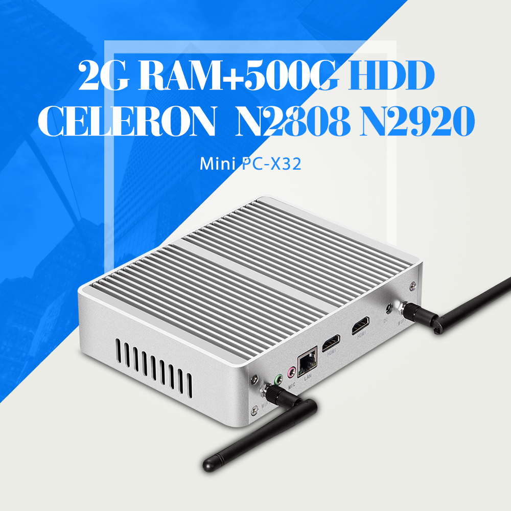 Mini pc celeron n2920 n2808 laptop computer 2 * cable hdmi mini pc de la computa