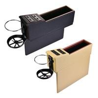 Universal Car Styling PU Leather 4 USB Car Seat Gap Crevice Storage Box Catcher Organizer Cup