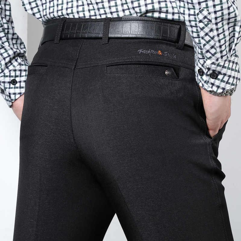 Осенний костюм, брюки, мужские свободные прямые брюки, мужские плотные брюки, черные официальные деловые для мужчин, свадебное платье, повседневные брюки