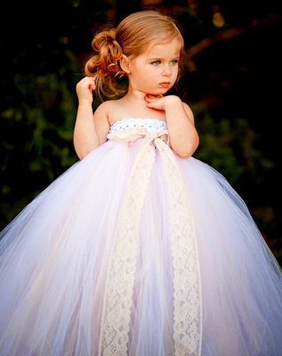 eee64f81d979a Cute Girls White Lace Tutu Dress Kids Fluffy Crochet Long Tulle Tutus Ball  Gown with Ribbon Bow Children Wedding Party Dresses