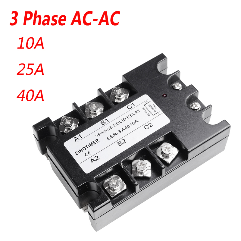 10A 25A 40A SSR 3 Phase Solid State Relay SSR-10 AC to AC Solid State Relay 25 SSR Relay Three Phase SSR 25A Rele