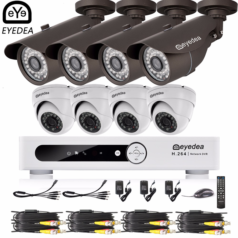 Eyedea 16 CH Phone View Motion Detect Video DVR 1080P Bullet Dome Outdoor Night Vision Surveillance CCTV Security Camera System eazzy bc 688 bulb cctv security dvr camera auto control light and recording motion dection night vision circular storage