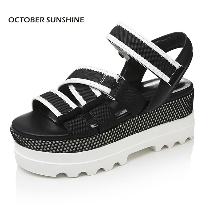 OCTOBER SUNSHINE 2017 NEW Summer Genuine leather Casual ...