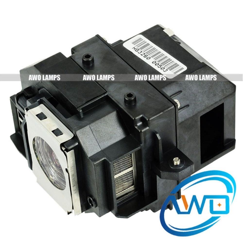 AWO Barato Lâmpada Do Projetor Compatível ELPLP54/V13H010L54 EB-S8/H328B/EB-X7 Projetores com Novas Moradias