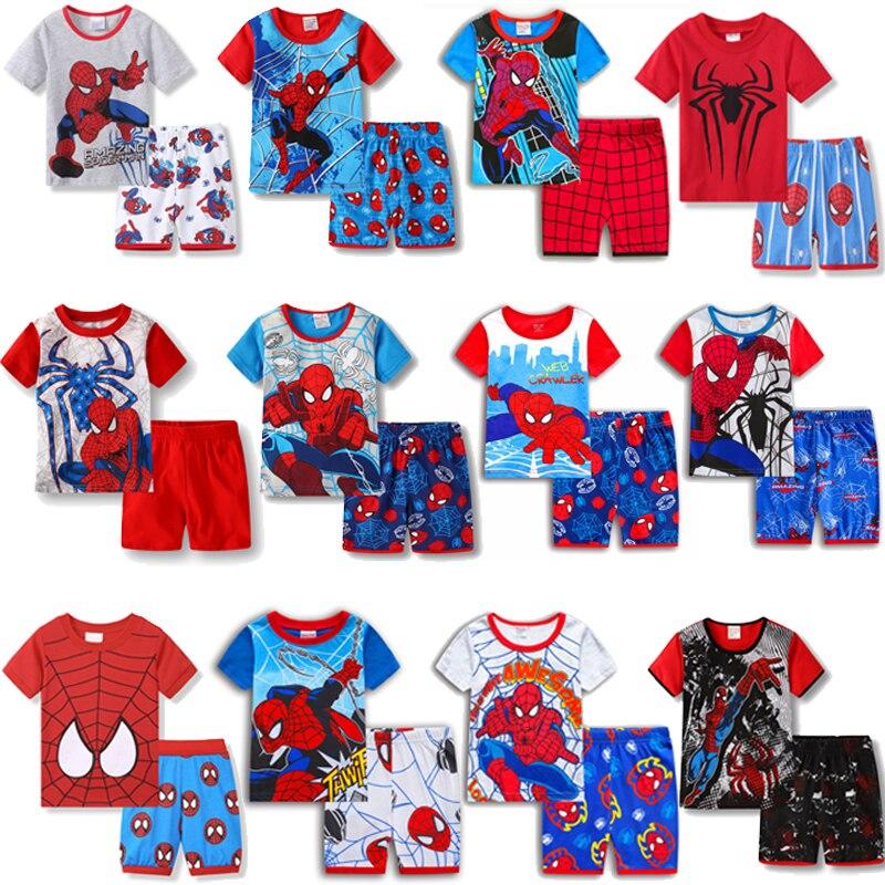 Children's SpiderMan Batman Pajamas Summer Short-sleeved Tshirt + Shorts Sports Set Kids Pyjamas Boys Girls Baby Sleepwear 2-7T