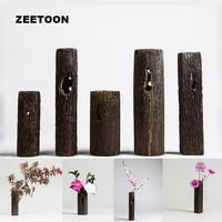 Vintage Zen Style Vase Ikebana Floral Creative Coarse Pottery Wood Grain Home Decor Tabletop Hydroponic Bonsai