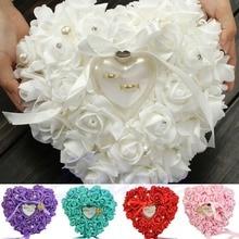 NUEVO Diseño Elegante Rose Favores de La Boda En Forma de Corazón Caja Del Anillo de Regalo Almohada Cojín