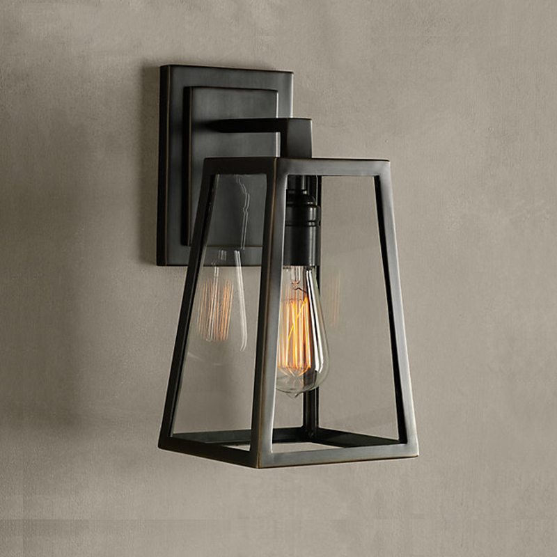 Northern and American industrial retro loft wall lamp bar Cafe Cafe balcony glass box wall lamps