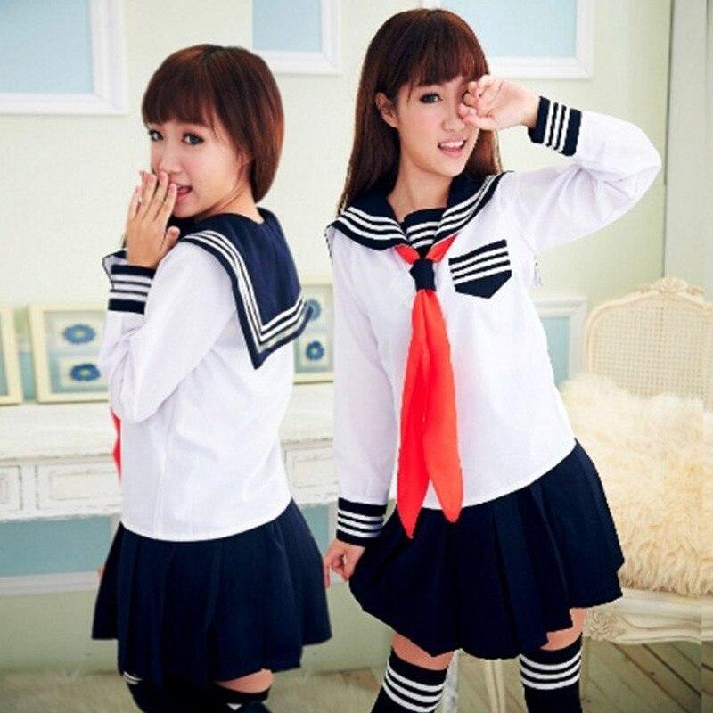 Girls Japanese School Sailor Uniform Long Short Sleeve Classic Navy Sailor School Uniforms High School Outfit Suit U006