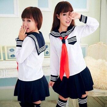 73aca6dca5 Niñas Escuela Japonesa marinero uniforme manga corta Classic Navy marinero uniformes  escolares escuela traje U006