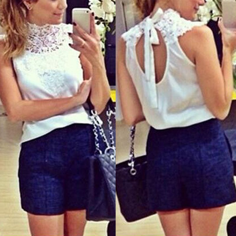 Sexy White Lace Blouse Women Sleeveless Backless Blusas Femininas Camisas Branca Feminino Feminine Shirts Festa