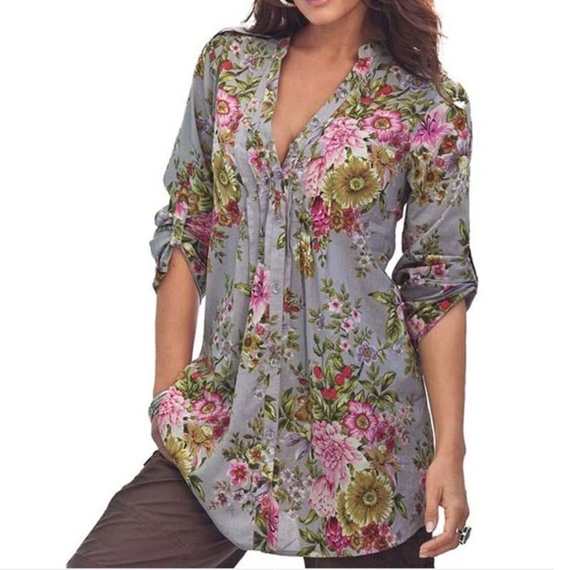 99bf3703a Talla grande S-6XL Mujer Vintage estampado Floral cuello en V túnica Tops  otoño 2019 moda Mujer ...