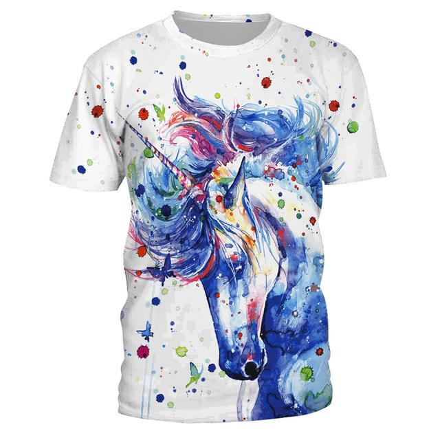 Watercolor Unicorn Printed Women's T-Shirt