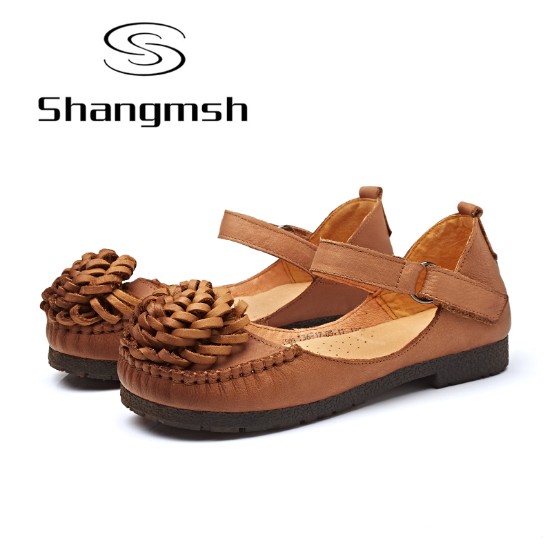 Shangmsh Casual Shoes Fashion Floral Handmade Genuine Leather Women Shoes 2017 New Soft Flats Shoe Pregnant Female Flats 2017 new handmade women flats genuine leather oxfords shoes woman fashion ballets flats casual moccasins for women sapatos mujer