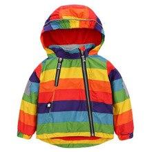Windbreaker Boys Jackets Rainbow-Coats Baby-Girls Outerwears Kids Winter Children's Thick