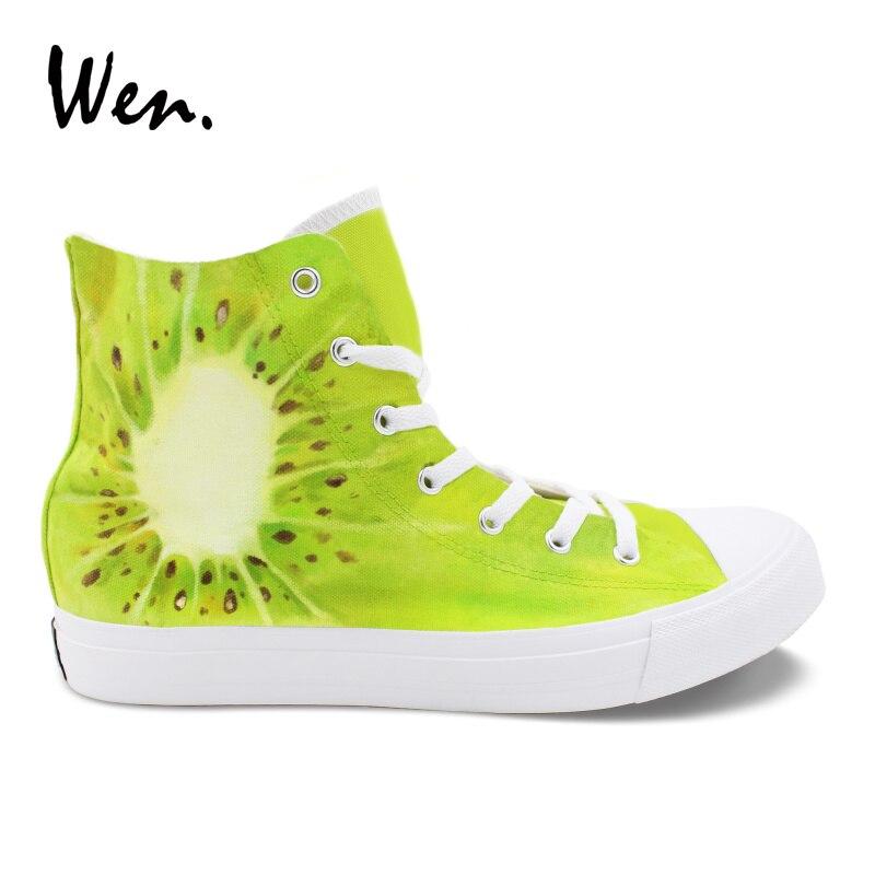 Wen Original Hand Painted Shoes Kiwi Fruit Design Men Women Canvas Sneakers Pedal Platform Lacing Espadrilles Flat Plimsolls