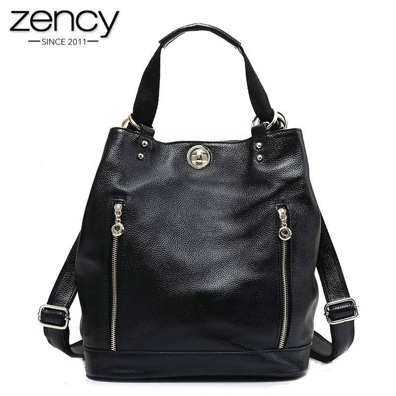 Zency 100 Real Cowhide Leather Classic Black Women Backpack High Quality Female Travel Bags Girl s