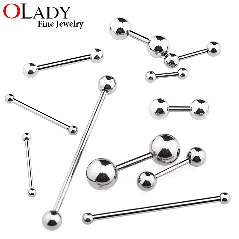 6 ~38mm DIY Titanium Micro Barbell bars for Tongue Rings Cartilage Earring Nipple rings 14 16G Body Piercing Jewelry