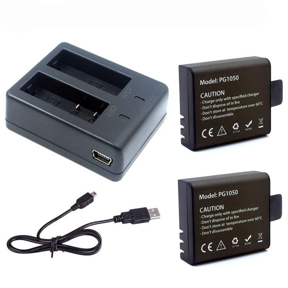 2 unids pg1050 1050 mAh recargable Baterías para cámara + USB cargador dual para eken H9 h9r H3 h3r h8pro h8r H8 pro deportes acción Cámara