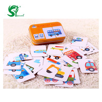 Toys For Children Iron Box Match Game Puzzle Card Learning Chinese English Fruit Animal Traffic Educational