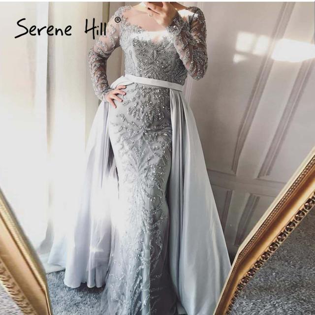 Luxury Dubai Arabic Robe De Soiree Evening Dresses New Long Sleeve Prom Dress Party Crystal Beaded Vestido De Festa BLA6172