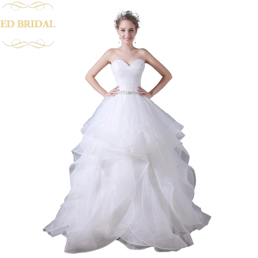 Sweetheart Ball Gown Organza Ruffle Wedding Dress With